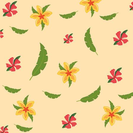 Tropical flowers design illustration on light background. Иллюстрация