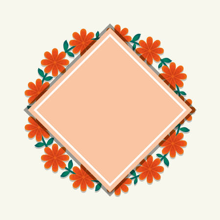 Decorative rhombus frame with wreath of tropical orange and leaves over white background, vector illustration
