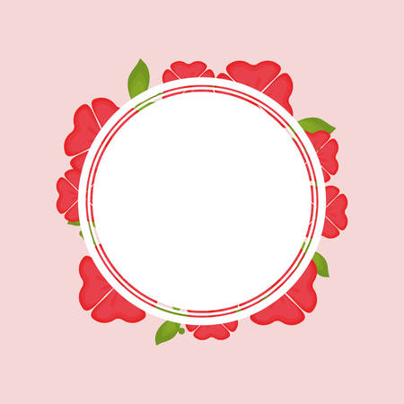 decorative circular frame with tropical red flowers over pink background vector illustration