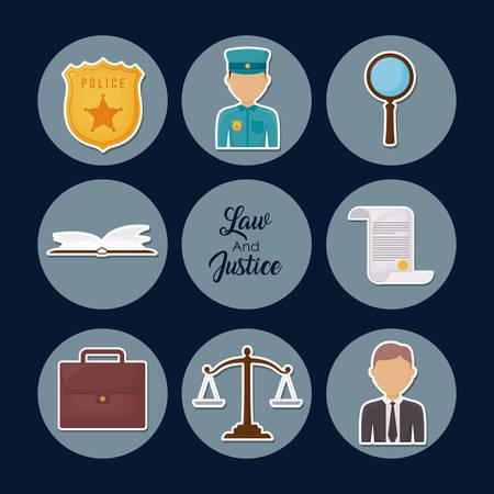 Law and justice design Vektoros illusztráció
