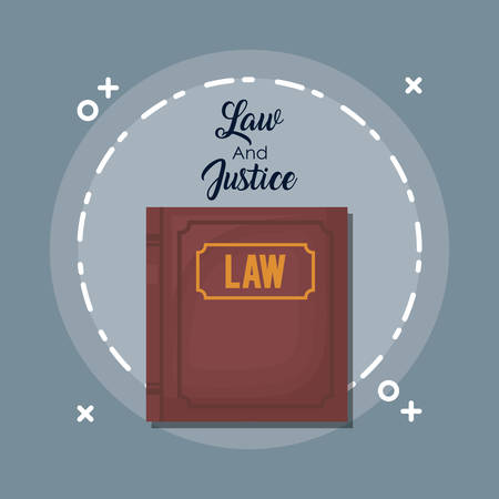 Law and justice design with law book illustration on gray background.