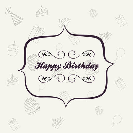 Design of happy birthday card with decorative frame over white background, colorful design vector illustration