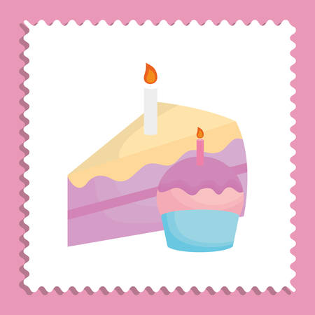 Birthday cupcake and piece of cake icon over white and pink background, colorful design vector illustration