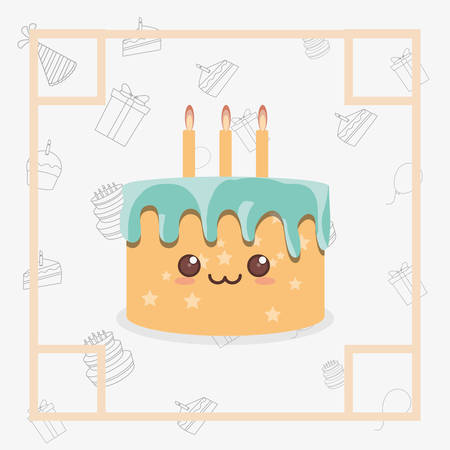 Decorative Frame With Kawaii Birthday Cake With Candles Icon ...