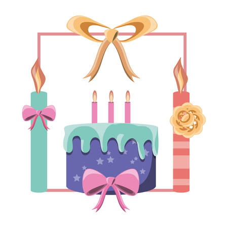 Decorative frame of candles and ribbon with birthday cake icon over white background, colorful design vector illustration