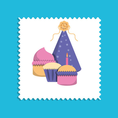 Birthday cupcakes and party hat icon over white and blue background, colorful design vector illustration Illustration