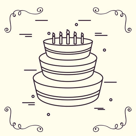 Decorative ornaments and Birthday cake with candles over white background, vector illustration