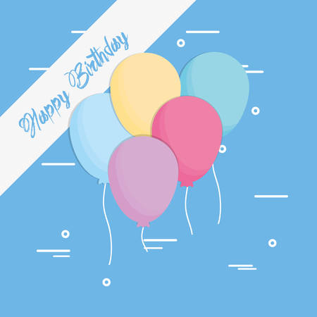 Happy birthday design with colorful balloons icon over blue background, vector illustration