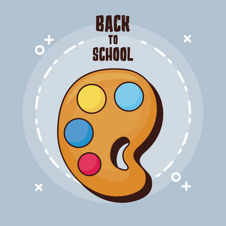 Back to school design with paint palette icon over gray background, vector illustration
