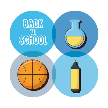 Icon set of back to school concept over colorful circles and white background vector illustration