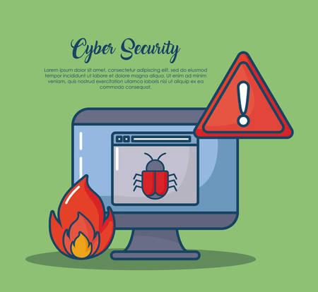 Cyber security design with computer and related  icons over green background, colorful design vector illustration