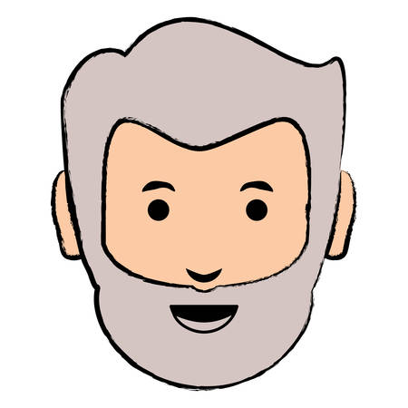 Cartoon old man face icon over white background, colorful design vector illustration Illustration