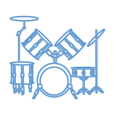 drum set icon over white background, blue line design vector illustration Vectores