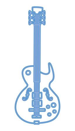 electric guitar icon over white background, blue line design vector illustration