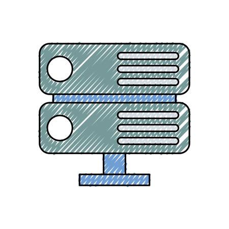 Colored cuboid server doodle over white background vector illustration