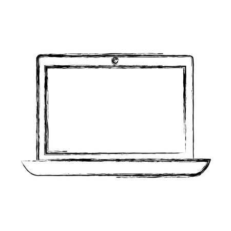 sketch of laptop computer icon over white background vector illustration  イラスト・ベクター素材
