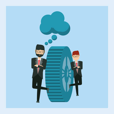 cartoon Businessmen design with gear and thought cloud Vector illustration.