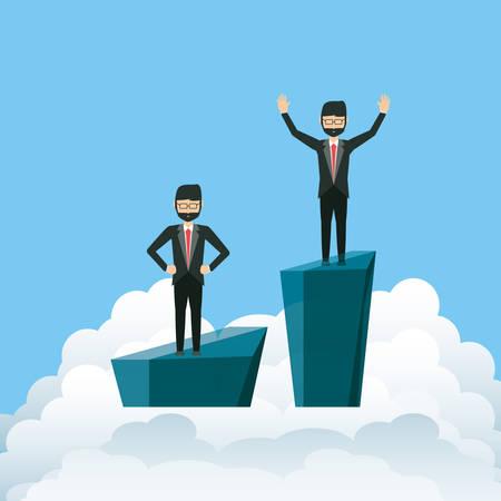 cartoon Businessmen on clouds, design Vector illustration on blue background. Illustration
