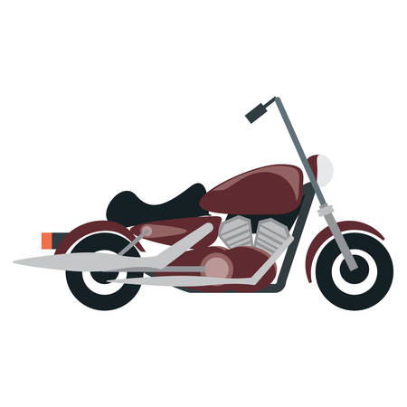 Classic chopper motorcycle icon over white background, colorful design vector illustration