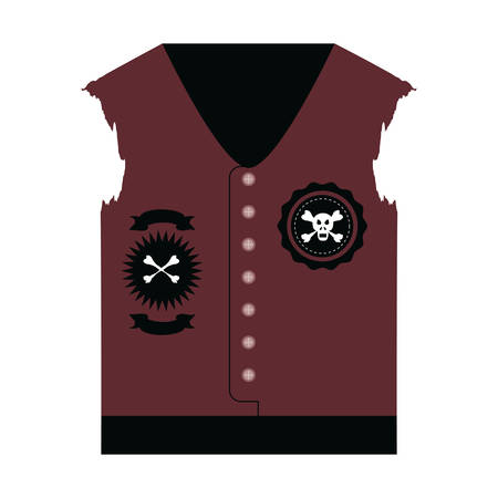 Biker jacket with patches of biker culture icon over white background, colorful design vector illustration Vectores