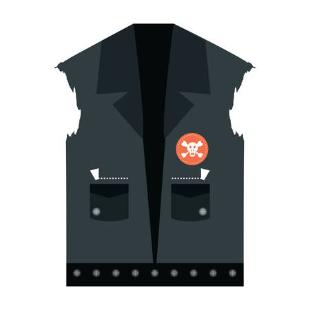 Biker jacket with patches of biker culture icon over white background, colorful design vector illustration Ilustração