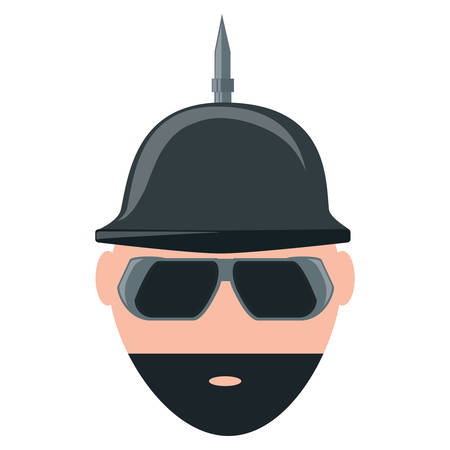 Cartoon man with beard and spiked helmet over white background, colorful design vector illustration Çizim