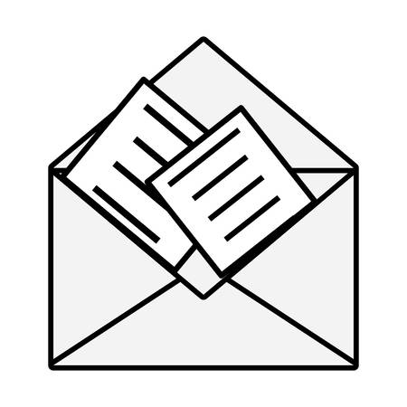 Envelope with letters icon in clip-art illustration. Stock Illustratie