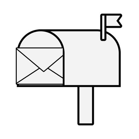 Mailbox with envelope in clip-art illustration.