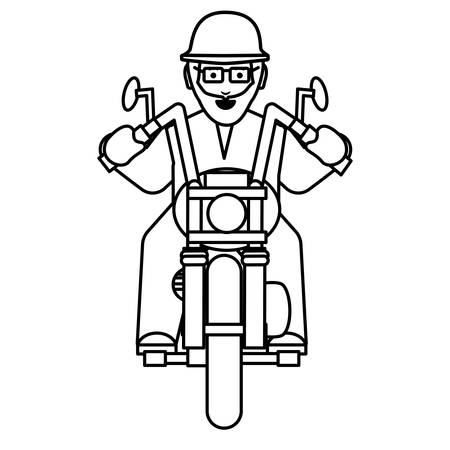 Bearded Man Riding a vintage Motorcycle over white background, vector illustration Çizim