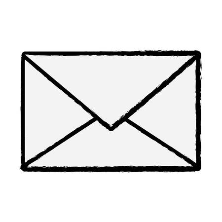 sketch of envelope icon over white background vector illustration