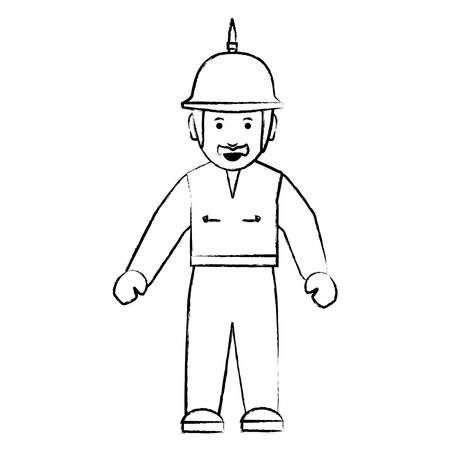 sketch of Cartoon motorcycle biker standing with spiked helmet over white background, vector illustration