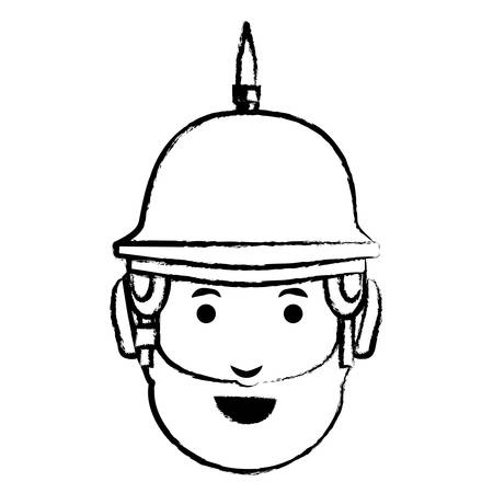 sketch of Cartoon man with beard and spiked helmet over white background, vector illustration