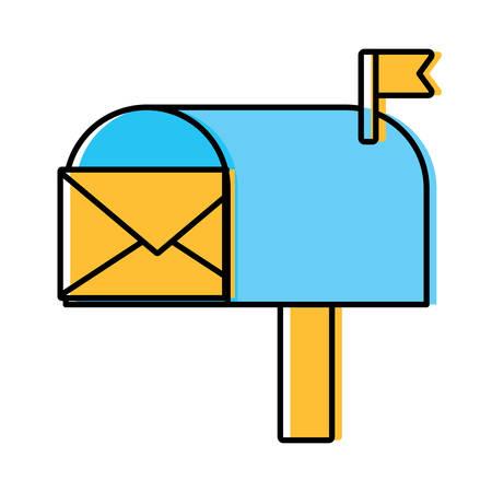 mailbox with envelope icon Illustration