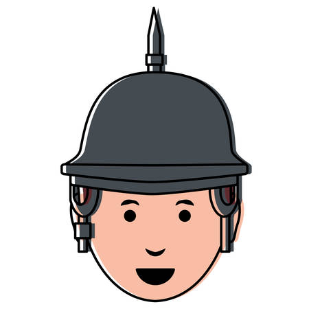 Cartoon man with spiked helmet over white background, colorful design. vector illustration Ilustracja