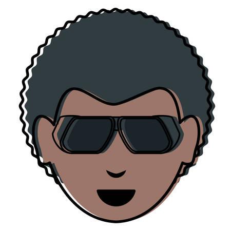 cartoon man with sunglasses Illustration