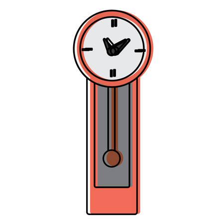 antique clock icon over white background, colorful design.  vector illustration