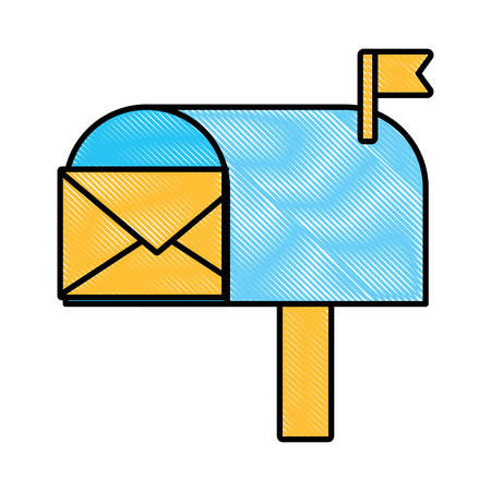 mailbox with envelope icon over white background, colorful design  vector illustration Illustration
