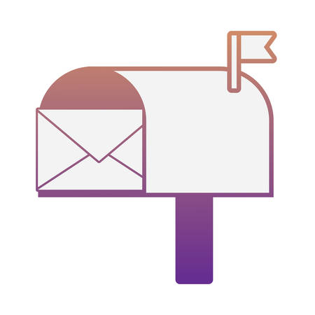 mailbox with envelope icon over white background vector illustration