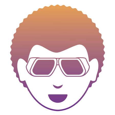 Cartoon man with sunglasses over white background, colorful design vector illustration