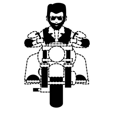 Bearded Man Riding a vintage Motorcycle over white background, vector illustration Illustration