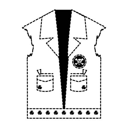 Biker jacket with patches of biker culture icon over white background vector illustration