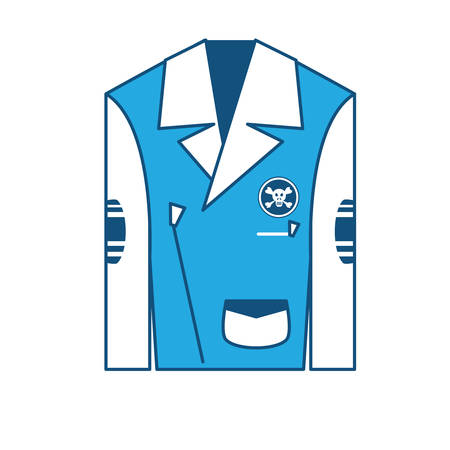 Biker jacket with patches of biker culture icon over white background, blue shading design. vector illustration