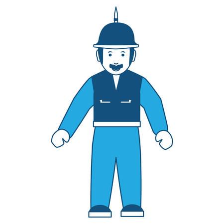 Cartoon motorcycle biker standing with spiked helmet over white background, blue shading design. vector illustration Ilustração