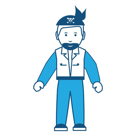 Motorcycle biker with bandanna standing over white background, blue shading design. vector illustration