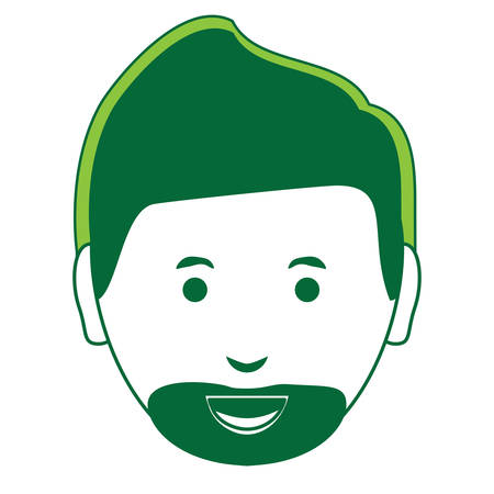cartoon man with beard icon over white background, green shading design. vector illustration