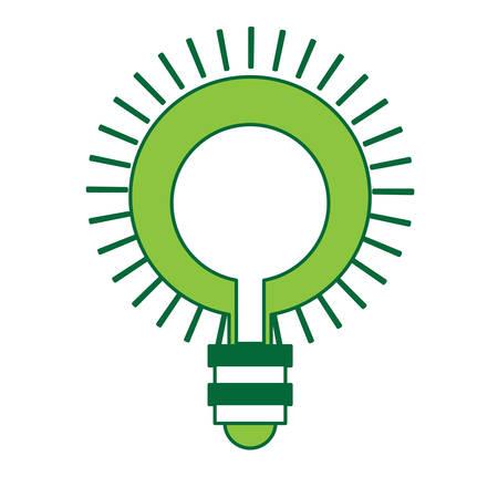 bright light bulb icon over white background, green shading design. vector illustration