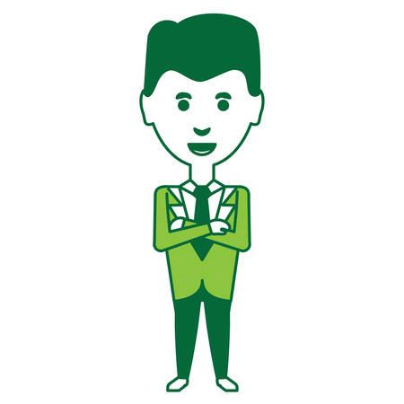 cartoon businessman standing with arms crossed over white background, green shading design. vector illustration