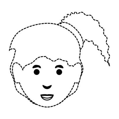 Cartoon Frau mit Pony Schwanz Symbol auf weißem Hintergrund Vektor-Illustration Standard-Bild - 95613841