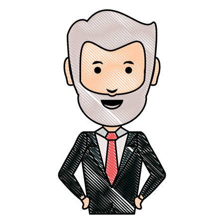 cartoon adult businessman icon over white background, colorful design. vector illustration Illustration