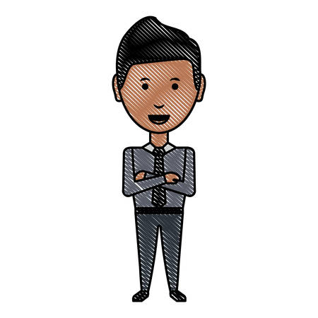 cartoon businessman standing with arms crossed over white background, colorful design vector illustration Vectores